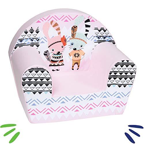 DELSIT Kindersessel Babysessel Kinder Sessel Baby Sitz Kindermöbel für Mädchen HASEN Rosa