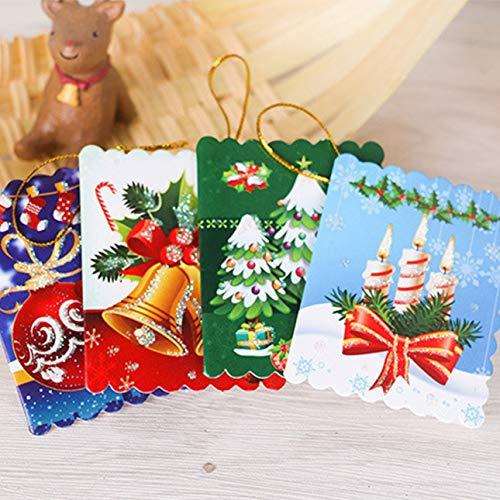 Ballylelly-10 Teile/beutel Einzigartige Weihnachtsgrußkarten Bunte Muster Weihnachtskarte Nachricht Karten Baum Hängende Verzierung von