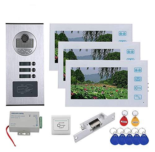 YQQQQ Timbre con Video de 7 Pulgadas, 3 Apartamentos, Intercomunicador con Videoportero de 3 Botones, Cámara de Visión Nocturna + 3 Monitores (Color : White)