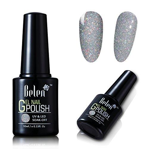 UV LED Nagellack von Belen Nail Art Polish Soak Off Schimmer Bunte Glitzer Effekt Farblack 1x10ML