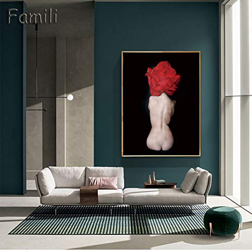 LKJHGU No Frame Modern Angel Girl Nordic Lienzo en Blanco y Negro Pintura Art Print Wall Poster Abstract Girl...