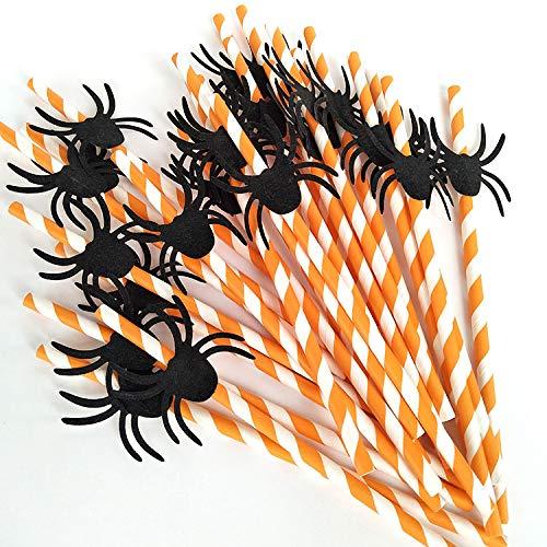 Chenyu, cannucce di carta biodegradabili usa e getta per feste di Halloween, accessori per Halloween, colori assortiti