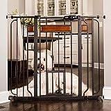Carlson Home Design Extra Tall Walk Thru Pet Gate with Small Pet Door, Includes Décor Hardwood, 4-Inch Extension Kit, 4-Inch Extension Kit, 4 Pack of Pressure Mount Kit and 4 Pack of Wall Mount Kit
