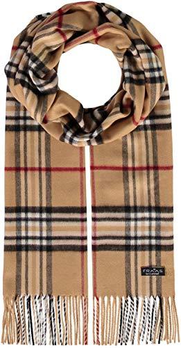 FRAAS Cashmink® Schal kariert für Damen & Herren - 35 x 200 cm - Made in Germany - Warmer XXL-Schal - Plaid Schal weicher als Kaschmir - Perfekt für den Winter Camel