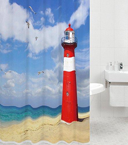 Sanilo Duschvorhang Leuchtturm 180 x 200 cm, hochwertige Qualität, 100prozent Polyester, wasserdicht, Anti-Schimmel-Effekt, inkl. 12 Duschvorhangringe