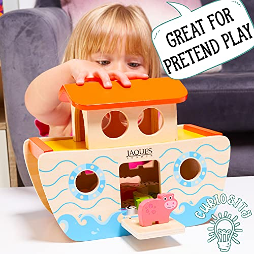 Wooden Noahs Ark Toy Playset | Wooden Toys for 1 2 3 year Olds | Shape Sorter | Baby Toddler Toy | Jaques of London