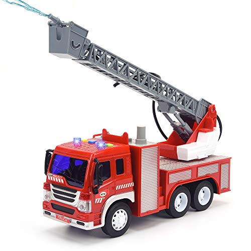 Fire Truck Toy with Lights and Sounds, 10.5' Friction Powered Car Fire Engine Truck with Water Pump,...