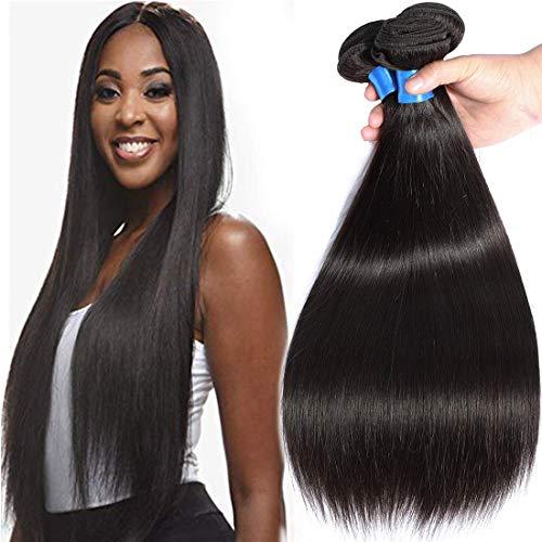 Cranberry Hair Brazilian Virgin Hair Straight Hair 3 Bundles Cheap Remy Human Hair Bundles Weaves 100% Unprocessed Virgin Hair Bundles Extensions Human Hair Weft Natural Black Color(24 26 28)