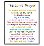 Lords Prayer Wall Art - Religious Bible Study Scripture Decor for Church, Sunday School Classroom, Baby, Girls Room, Toddler, Boys Bedroom, Nursery - Blessed Christian Gift for Daughter, Son, Kids
