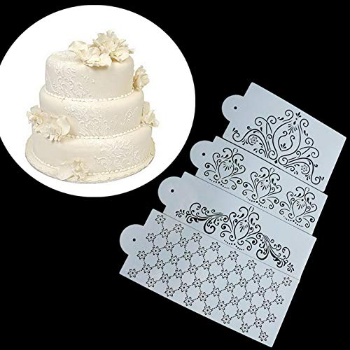 SVHK Decorative Flower Edge Tools, Cake Lace Decoration Stencil, 4 Pieces Cake Decorating Template Kit, DIY Valentine's Day Retro Hollow Spray Flower Template Cake Lace Decoration