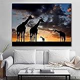 Carteles e impresiones, dos elefantes, lienzo, arte, amanecer, paisaje, pintura de pared, ilustraciones de animales para sala de estar, 40x50cm, sin marco