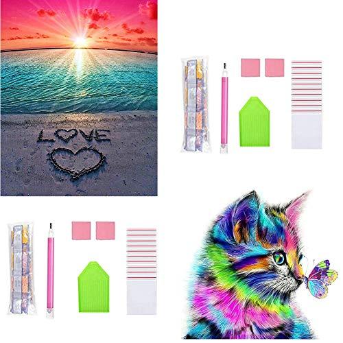 Eozfly Juego Completo de Pintura de Diamante 5D, 2 Piezas Diamantes Juego de Imitación de Cristal Para Decoración de Pared Del Hogar (Amor de Gato y Playa)