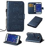 SZYT Móviles funda para Samsung Galaxy Core Prime G360 / Samsung Galaxy Prevail LTE, Modelo en relieve de elefante Función de Billetera case de teléfono Con la correa de la manija y la ranura para tarjeta, Azul