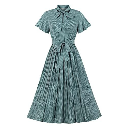 Wellwits Vestido Vintage Midi Plisado con Estampado de Patrón de Mujer