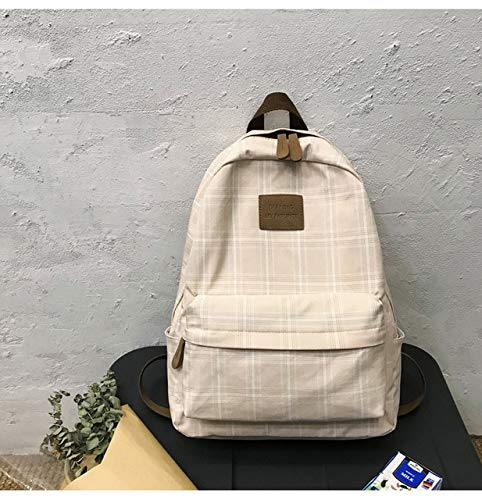 HongYa Fashion Girl College School Bag Casual New Simple Women Backpack Striped Book Packbags for Teenage Travel Shoulder Bag Rucksack-beige