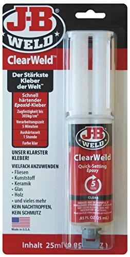 JB Weld 50112-DEU ClearWeld, schnell härtender, transparenter Epoxid-Kleber, fein dosierbar und sauber zu verarbeiten