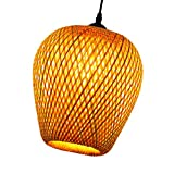 Minkissy Bamboo Lantern Pendant Lamp Retro Japanese Style Rattan Chandelier Weaving Natural Wicker Ceiling Hanging Light for Dining Room Living Room Restaurant