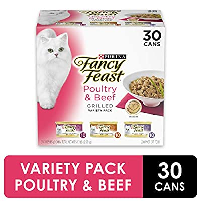 Purina Fancy Feast Grilled Gravy Wet Cat Food Variety Pack, Poultry & Beef Grilled Collection - (30) 3 oz. Cans