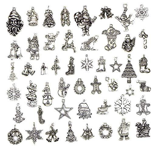 50 Pc/Encantos De La Decoración De Navidad De Plata Colgantes De La Aleación De DIY Que Hace Joyería para Pendiente Collar De La Pulsera Accessorise
