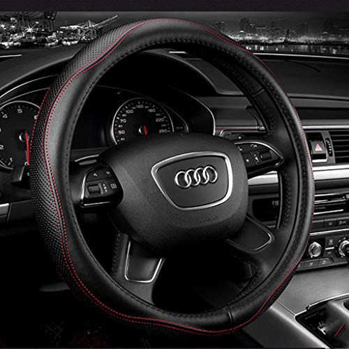 PIANAI Car Accessories Leather Steering Wheel Cover Creative Personality Leather Handlebar Cover,E,36cm