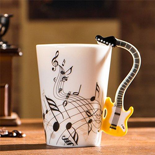 Keramische elektrische Gitaar Mok ins Melk Cup Muzikaal Instrument Note Cup Water Cup Koffie Cup Muziek Cup 201-300ml Geel Gitaar Gratis