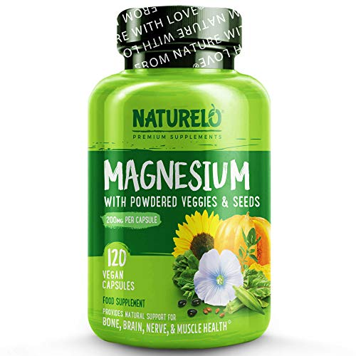 NATURELO Magnesium Glycinate Supplement - 200 mg Natural Glycinate Chelate with Vegetables Extracts - Gluten Free, Non GMO - 120 Capsules | 4 Month Supply