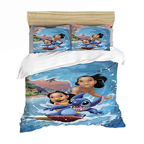 XIAOBUDIAN The Disney Lilo&Stitch - Funda de edredón cómoda y transpirable para niños (135 x 200 cm, lila y puntada-8)