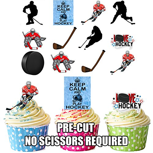 Ice Hockey Pack Cake Decorations - 36 Edible Stand-up Cupcake Toppers by AKGifts