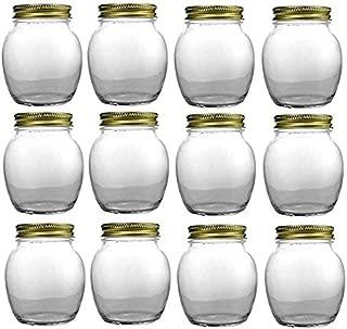 Nakpunar 12 pcs, 12 oz Globe Round Jars with Gold Lids - 1 lb Honey