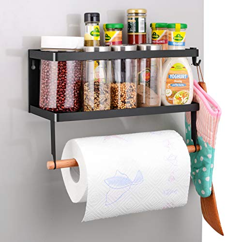 Refrigerator Spice Storage Shelf - Magnetic Fridge Spice Rack Organizer Paper Towel Holder - 14.9 x13.3 x10.6 INCH,Large Weight Capacity Rustproof Spice Jars Rack, Strong Magnetic Shelf with 2 Hooks