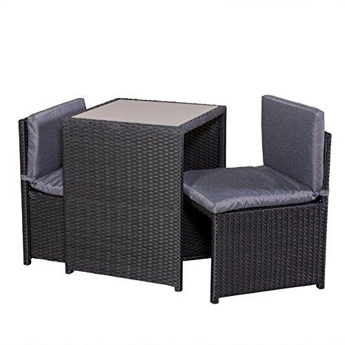 Set de balcon table en rotin 2 fauteuils 2 Coussin balcon à Meubles Mobilier de Terrasse platzsparend Noir/Gris