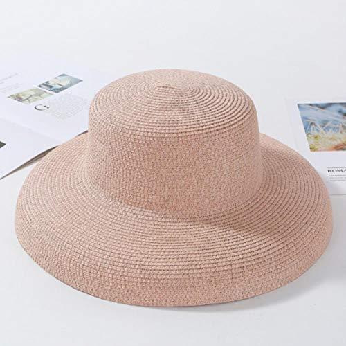 UKKO Strandhut Sommer-Hüte Damen Feste Einfacher Elegantes Wide Brim Hat Female Round Top Panama Floppy-Stroh-Strand-Hut-Frauen,Rosa
