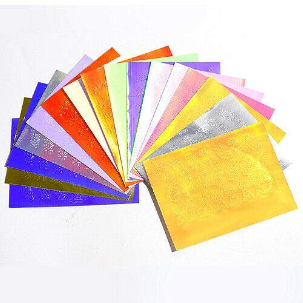 レザー鍔増加する16ピースセットホログラフィックストリップテープネイルアートステッカーネイルアートデカールネイルアート箔ネイルアートデコレーションレーザーゴールドシルバー葉オーロラ炎