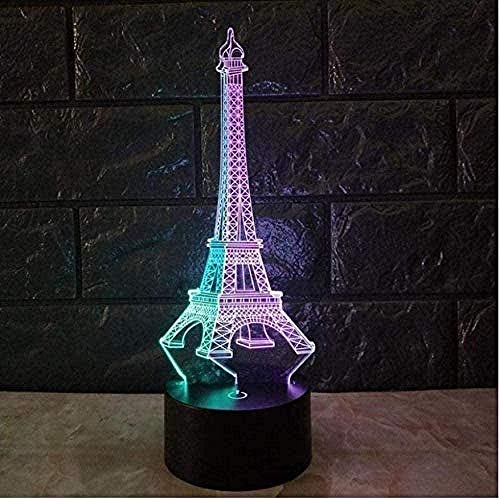 Ilusión 3D Lámpara De La Noche Lámpara De Escritorio Torre De Hierro 7 Colores Cambiando Con El Botón De Tacto Inteligente Regalo Romántico Para El Amante, Esposa, Novio O Novia