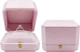 Bearda Pink Proposal Ring Box - Premium 8 Corner Design PU Leather Cover Soft Velvet Holder Wedding Ring Gift Box, Bling Press Button 3D Showcase Ring Storage Organizer Elegant Case (Single)