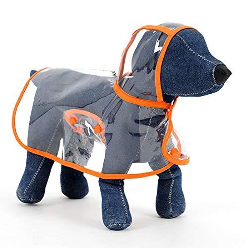 Tuzi Qiuge Hunde-Regenmantel, Kleiner und mittlerer Hund Haustier Leichter Wasserdichter Teddy-transparenter Plastik-Poncho yooo (Color : Orange)