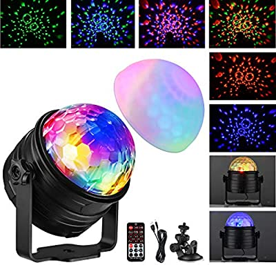 Disco Lights, Oak Leaf 2 in 1 Sound Activated Disco Ball Light with Mood Light Mode, 7 Colors RGB Disco Party Lights with 4M/13ft USB Cable for Kids Birthday Home Party & Bedroom Decoration