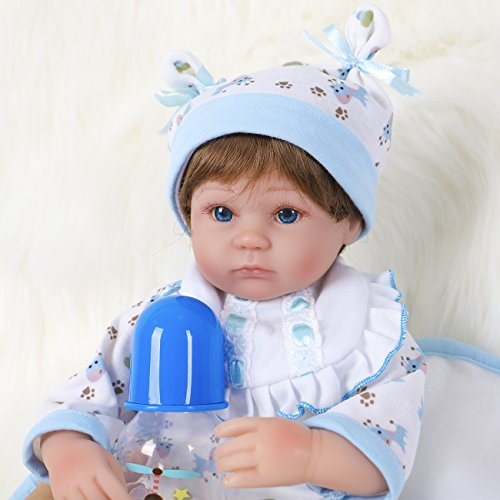 ENA Reborn Baby Doll Weighted Soft Body Silicone Vinyl Baby Boy 16 inch Realistic Lifelike Doll Gift Set for Ages 3+(Blue Giraffe)