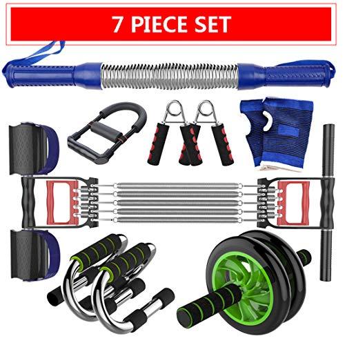 ZTJ-Lighting Fitness-Übungs-Set für Frauen und Männer, Ab Roller Wheel Kit, Kasten-Expander, Widerstand Übungsbänder Workout Fitness-Set für zu Hause und unterwegs Gym Set,C