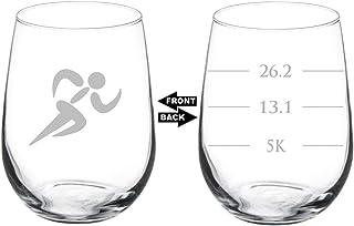 Wine Glass Goblet Two Sided Runner Run Marathan Fill Lines (17 oz Stemless)