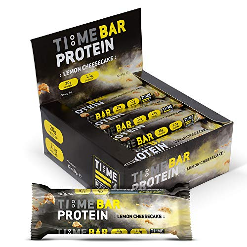 Time 4 Nutrition - Time Bar High Protein Low Carb Bar Protein Bars (12 x 60g Bars Per Box) – High Protein Bars – Low Carb Bars – Protein Bars Low Sugar – Low Calorie Protein Bars (Lemon Cheesecake)