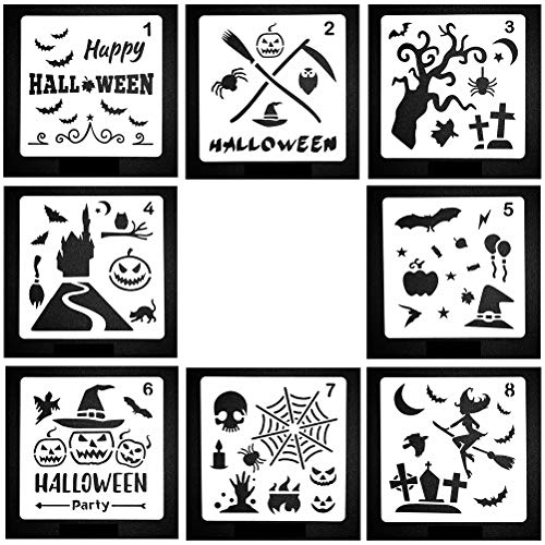 SUPVOX 8pcs Halloween Stencils Set Wall Paint Stencils Plantillas de plástico para DIY Pintura Craft Halloween Party Favors