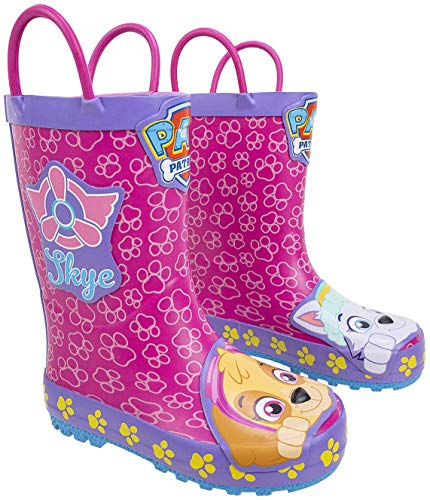 Paw Patrol Toddler Rainboots,Marshall and Chase Mismatch Rainboots with Handles,100% Rubber,Pink Purple, Toddler Size 7-8