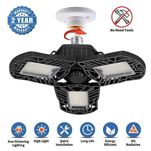 LED Garage Lights Workshop,Warehouse 4500Lumens Adjustable Trilights Garage Ceiling Light,45W LED Garage Ceiling Light 6000k Nature Light for Garage Barn CRI 80