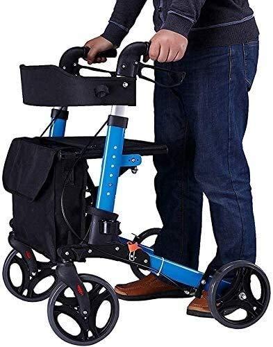 LYP Andador Rollator De Peso Ligero Plegable Andador con Ruedas Walker Andador de aleación de Aluminio con Asiento y Walker Bolsa