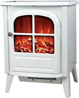 RKRGQ 900/1800W Electric Fireplace,Freestanding Fireplace,Fireplace Stove Heater,Log Burner Electric Fire Stove Electric Fireplace Heater with Realistic Flame Effect, Overheat Protection(White)