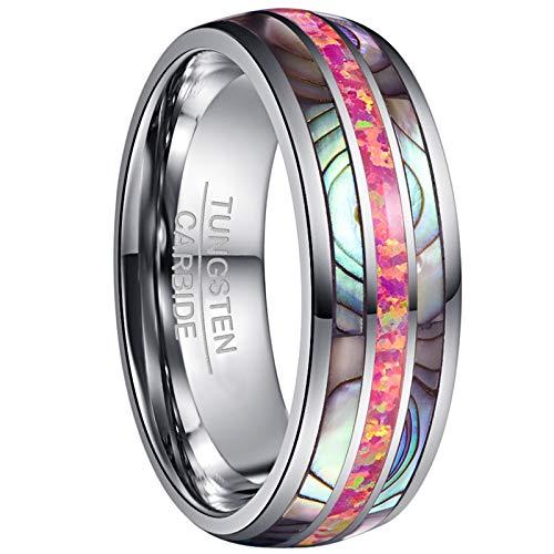 Vakki Ring für Männer/Frauen 8mm Mehrfarbige Opel + Abalone Schale,Wolframkarbid Ehering Kuppel Design Komfort Fit Größe 59 (18.8)