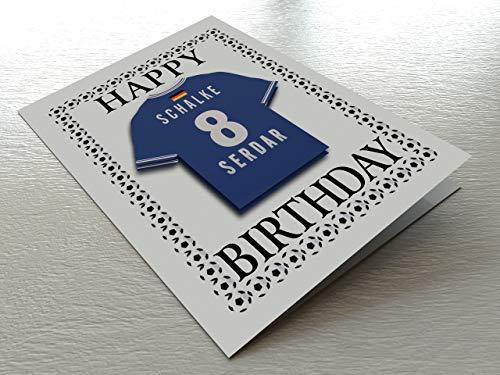UCL European Club Football & Euro League Fußball Themed Geburtstagskarten – jeder Name, Jede Nummer und jedes Team – kostenlose Personalisierung, Canvas, FC Schalke 04 Geburtstagskarte