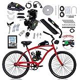 YUEWO 80cc Motorized 2-Stroke Upgrade Bike Conversion Kit, DIY Petrol Gas Engine Bicycle Motor Kit Set with Speedometer for 24', 26' and 28' Bikes (Black)