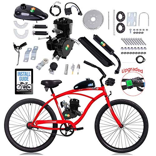 YUEWO 80cc Motorized 2-Stroke Upgrade Bike Conversion Kit, DIY Petrol Gas Engine Bicycle Motor Kit Set with Speedometer for 24', 26' and 28' Bikes (Black)